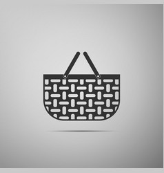 shopping basket flat icon on grey background vector image