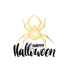 Spider with happy halloween vector