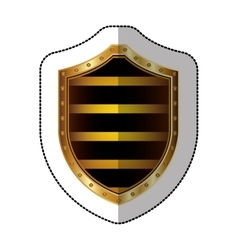 Sticker golden shield with colorful horizontal vector