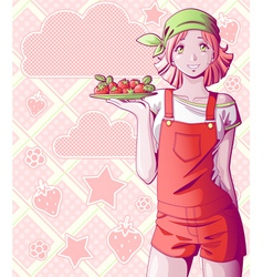 strawberry girl vector image vector image