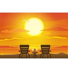 Sunset view in beach vector image vector image