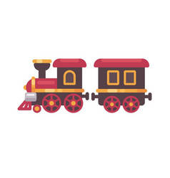 Toy train flat christmas present icon vector