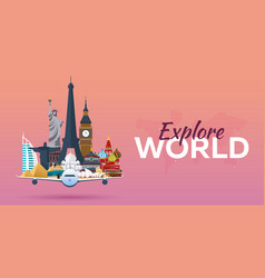 Travel to world airplane with attractions travel vector