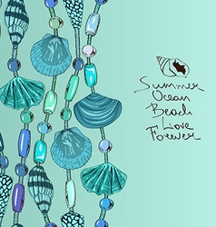 with jewelry of seashell and beads vector image vector image