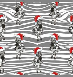 Zebra wearing santa hats seamless pattern vector