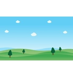 Landscape of green hill panorama vector