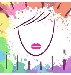 Face of beautiful girl logo template makeup vector