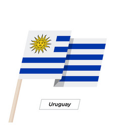 Uruguay ribbon waving flag isolated on white vector