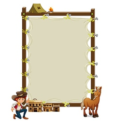 An empty framed banner with a cowboy and a horse vector image