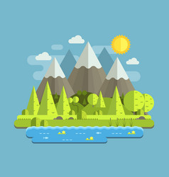 Mountain lake forest background vector