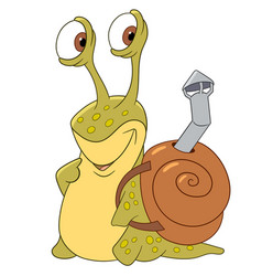 Cartoon snail with a shell vector