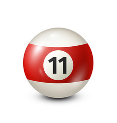 Billiardred pool ball with number 11snooker vector