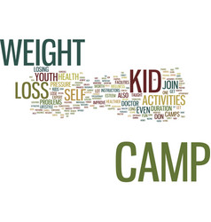 Youth activities weight loss camp text background vector