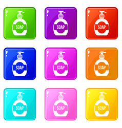 Bottle of liquid soap set 9 vector