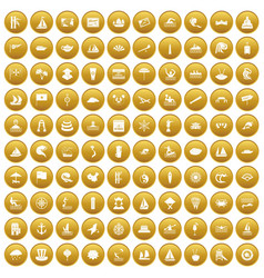 100 sailing vessel icons set gold vector
