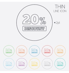 20 percent discount sign icon sale symbol vector