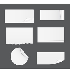 Set of white paper stickers isolated on white vector
