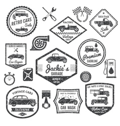 Retro car label black set vector