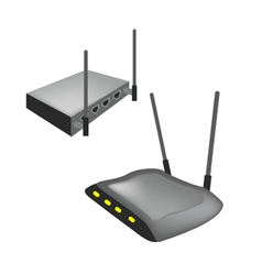 Two Black Wireless Router on White Background vector image