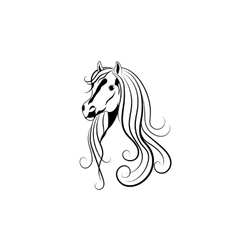 Horse head in black and vector