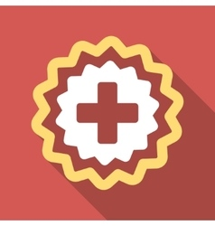 Medical cross stamp flat square icon with long vector