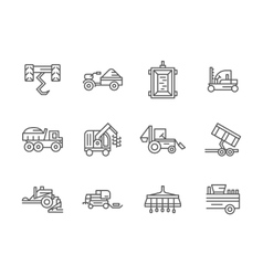 Farm machinery black line icons vector