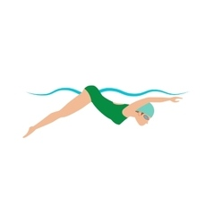 Dynamic and fit swimmer in cap breathing vector