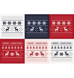 Christmas winter pattern print set vector
