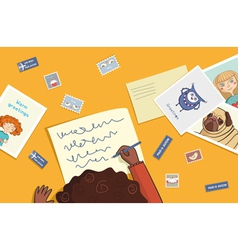 African girl writes a letter vector image vector image