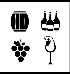 Barrel grape bottles and glass of wine icon vector