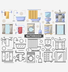 bathroom furniture set in flat style vector image vector image