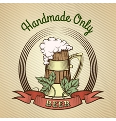 Beer Mug in Vintage Style vector image vector image