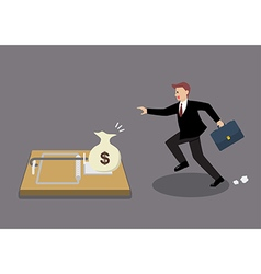 Businessman try to pick money from mousetrap vector