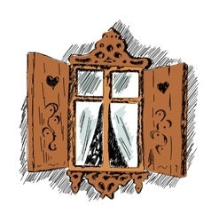 carved wooden decorative lace decoration window vector image vector image