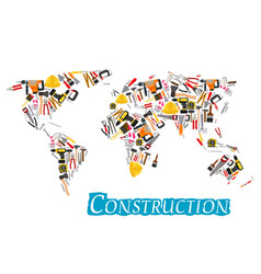 Construction work tools world map vector