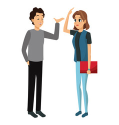 couple young talking communication vector image vector image