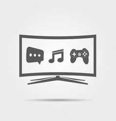 curved smart tv icon vector image vector image