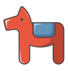 dala horse swedish symbol icon cartoon style vector image