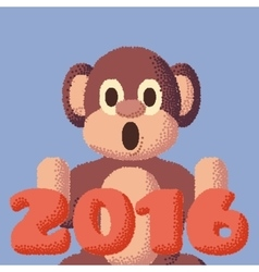 Dotted monkey symbol of 2016 rose quartz and vector