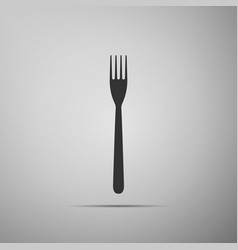 fork flat icon on grey background vector image