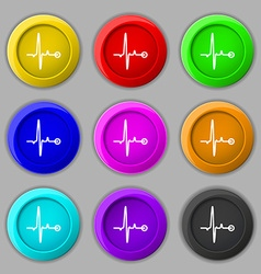 Heartbeat icon sign symbol on nine round colourful vector image