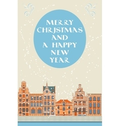 Lovely christmas card with an old city vector