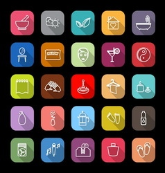 Massage line icons with long shadow vector