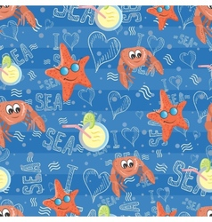 pattern with sea life vector image