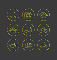Personal urban transport flat icons vector