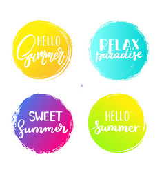 Set of colorful summer circles signs badges vector