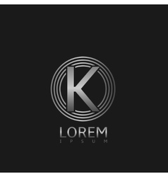 Silver k letter logo vector