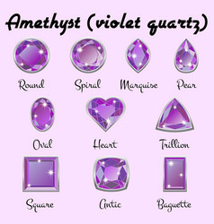 types of cuts of amethyst vector image