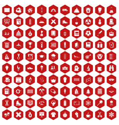 100 school years icons hexagon red vector
