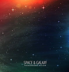 Space with stars and colorful lights vector